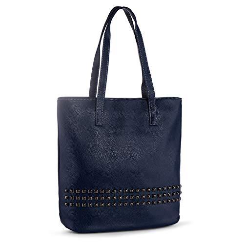 Auténtica Shopper Tote Azul de de Hombro Remaches Grande Mujer Bandolera Bolsos Bolso Bolso Negro de Pìel 4qCanZO