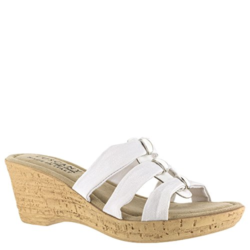 Easy Street Mid Heel Sandals - Easy Street Women's Tuscany by, Andrea Mid Heel Wedge Sandals White 8 M