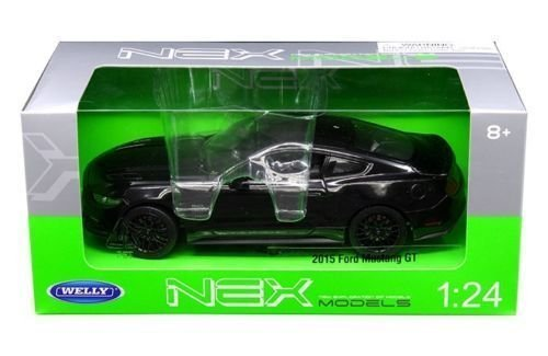 new-124-w-b-welly-collection-black-2015-ford-mustang-gt-diecast-model-car-by-welly