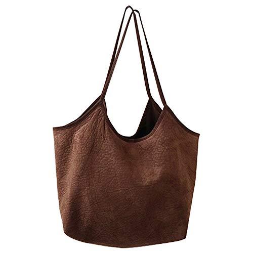 Jinsun Work Shoulder Bags Multipurpose Magnetic Closure Large-Capacity Suede Tote Shoulder Bag Handbag