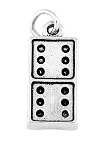 (Sterling Silver Domino Piece Charm W/ONE Split Ring Charms,Pendant and Bracelet by Easy to be happy)
