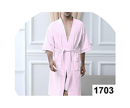 Men 100% Cotton Suck Sweat Towel Bathrobe Mens Plus Size Sexy Waffle Male Women Dressing Spas,Men Pink,M