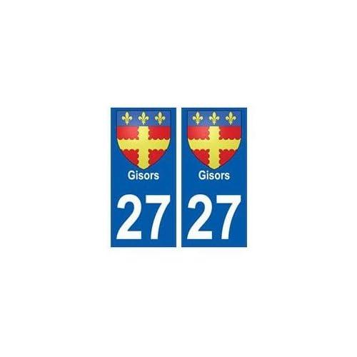 27 Gisors blason autocollant plaque stickers ville - arrondis