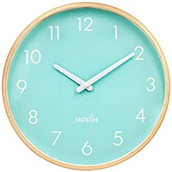 Large Indoor/Outdoor Hippih Silent Wall Clock Wood 12 Inches Non Ticking Digital Quiet Sweep Decorative Vintage Wooden Clocks with Glass Cover(green)