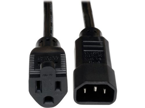 Price comparison product image Tripp Lite Standard Computer Power Cord 10A, 18AWG (IEC-320-C14 to NEMA 5-15R) 1-ft.(P002-001-10A)