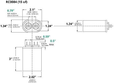 TEMCo Motor Run Capacitor RC0050-10 mfd uf 370//440 V VAC Volt 10 uf Oval HVAC TEMCo AC Electric