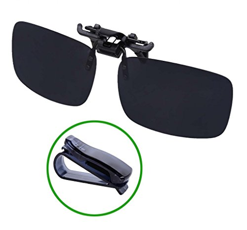 WODISON Outdoor Driving Rectangle Polarized Clip on Flip up Sunglasses for Eyeglasses - With Visor Sunglasses