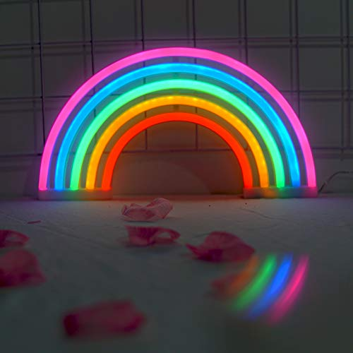 Amroe Lighting Neon Tube USB Charge Battery Powered Rainbow Multicolor Wall Lightn Led Lamp Children's Room Night Light Bar Atmosphere Light Dormitory Girl Room Decoration Props]()