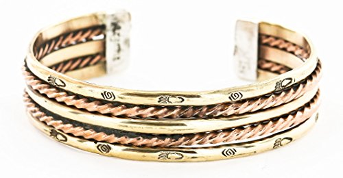 RARE $200 Retail Tag Handmade Bear paw Authentic Made by Charlene Little Navajo Pure Copper and Brass Native American Bracelet (Native American Bear Jewelry compare prices)
