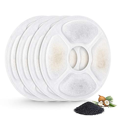 Premium Activated Filter Carbon - VegasDoggy Water Fountain Filters Pets Cats Good Senses Replacement Automatic Flower Dispenser Activated Carbon Filter for Mospro Design Pack of 4 PCS