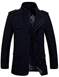 Nidicus Men's Fashion New Military Style Casual Jacket Zip Button Trehch Coat