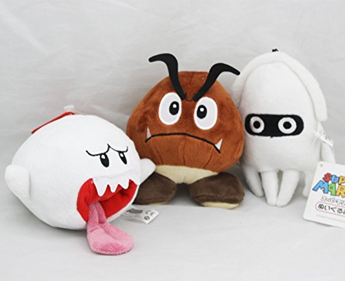 [Super Mario Bros Goomba Blooper Boo Ghost Soft Figure Plush Doll Set of 3 pcs] (Dry Bowser Costume)