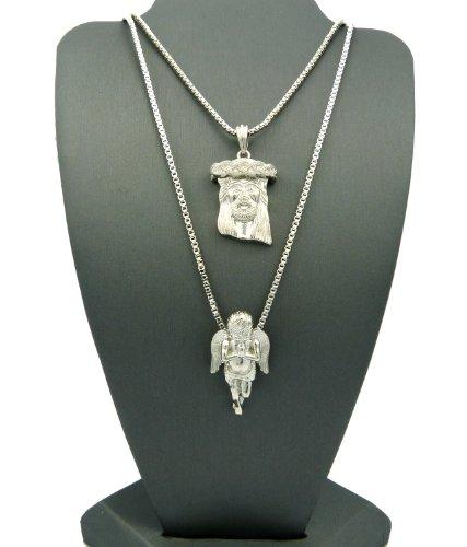 2 Piece Jesus & Cherub Micro Pendant Set with Box Chain Necklaces RC190R, Silver-Tone