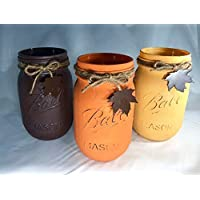 Fall Mason Jars With Leaves/Fall Mason Jar Decor/Fall Wedding Centerpiece