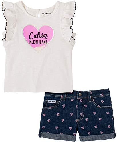 Ideas To Dress Up As (Calvin Klein Girls' 2 Pieces Shorts Set, Marshmallow/Denim,)
