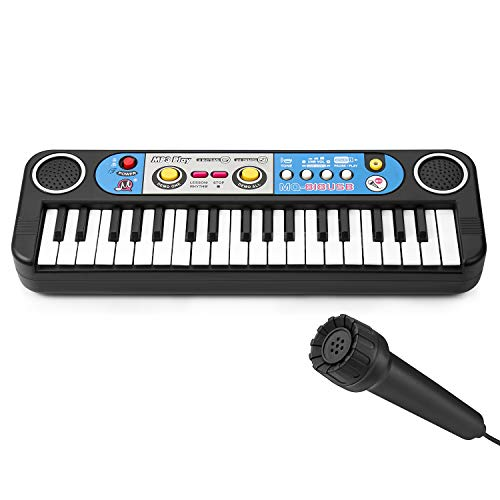 Lonian Kids Piano Keyboard 37 Keys, Mini Electronic Musical Instrument Multi-Function Keyboard Teaching Toys Birthday Christmas Day Gifts for Kids Early Learning Educational