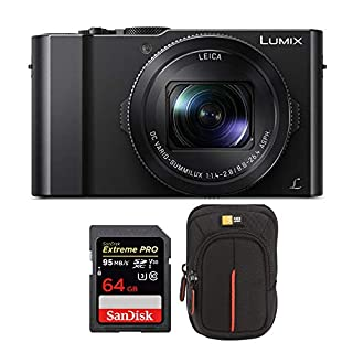 Panasonic LUMIX LX10 4K 20.1MP Digital Camera with Leica 24-72mm Lens (Black), 64GB SD Card, and Camera Case Bundle