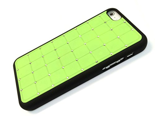 Nouvelle qualité Iphone 5c CRISTAL DE LUXE Cross Green Diamond Case Hard Cover Bling avec cadre noir pour Apple iPhone 5C
