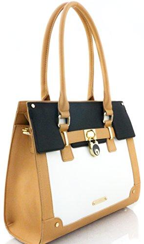 LYDC London Handtasche Damen Tasche Dunkelbeige