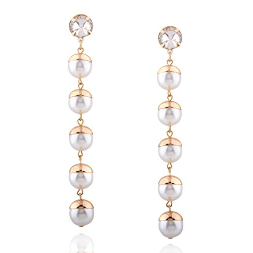 MELTINI Women's Tassel Earrings Designer Long Fringe Drop Artificial pearls Earrings Dangle - Pearl Fringe Earrings