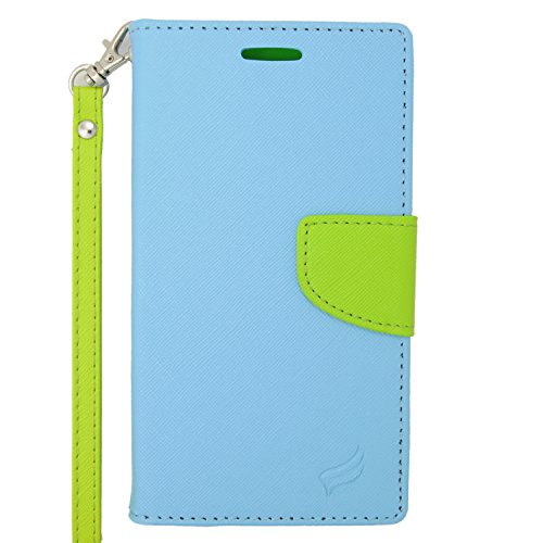 For Sony Xperia Z3V (Verizon) - EagleCell Flip Wallet PU Leather TPU Protective Case Cover - Green/Light Blue (Faceplate Money Cash Protector)
