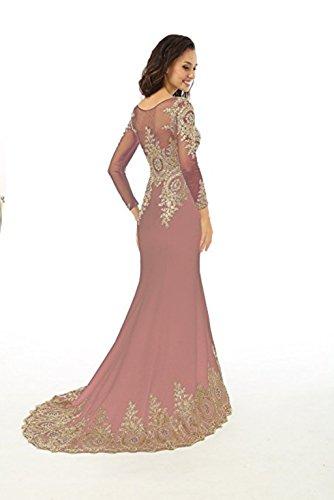 Abendkleid Meerjungfrau Langarm Koralle Frauen Applikationen Love Mieder nge L Abendkleid Boden King's Sheer Strass Spitze Kleid Perlen n7tqwWI