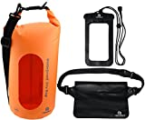 Kyпить Freegrace Waterproof Dry Bags Set Of 3 By Dry Bag With 2 Zip Lock Seals & Detachable Shoulder Strap, Waist Pouch & Phone Case - Can Be Submerged Into Water - For Swimming (Orange(Window), 5L) на Amazon.com