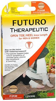 FUTURO Therapeutic Knee Length Stocking Open Toe/Heel Firm Medium Beige 1 Each ( pack of 2) by Futuro