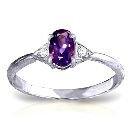 Citrine Amethyst Diamond Heart - Galaxy Gold 0.46 CTW 14k Solid White Gold Ring with Natural Diamonds and Oval-shaped Amethyst - Size 7.5