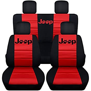 Fits 2013 To 2017 Jeep Wrangler 4 Door Paw Print Seat Covers 21 Color Options