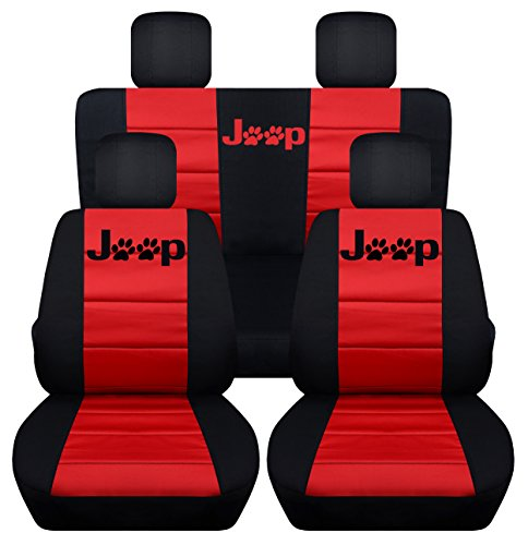 Fits 2013 to 2017 Jeep Wrangler 4 Door Paw Print Seat Covers 21 Color Options (Black and Red)