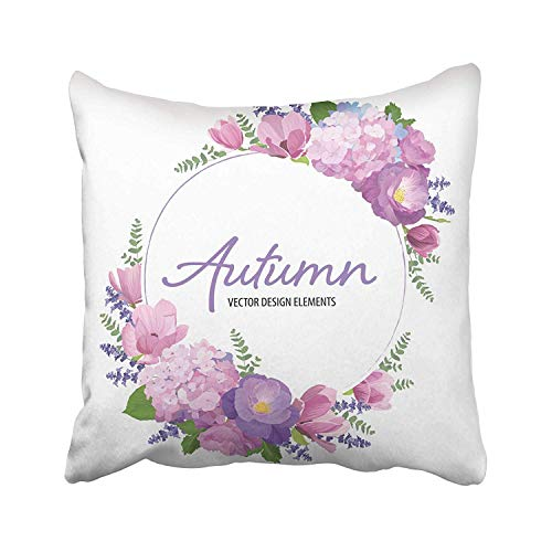 Ashasds Purple Floral with Autumn Hydrangea Flowers Rose Magnolia and Lavender on White of Blooming Design Pink Throw Pillow Covers for Home Indoor Comfortable Cushion Standard Size 18x18 in