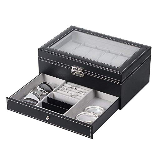 (NEX Watch Case Organizer, Double-Layer Watch Box with Display Glass and Jewelry Tray Drawer)