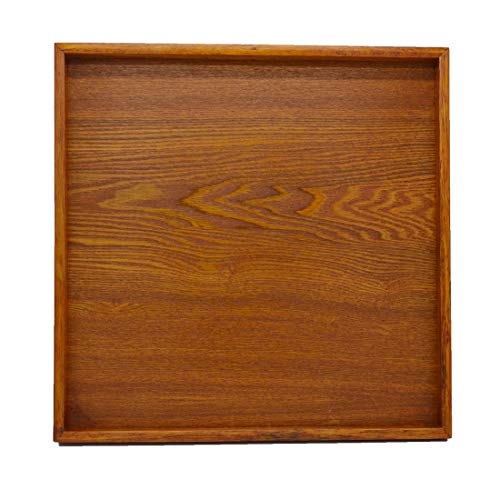 Natural Wood Ottoman Serving Tray 15.7x15.7 inch Wooden Tea Tray Decorative Tray Decoration Breakfast Dinner Party Fruit Food Coffee (Decoration Tray)