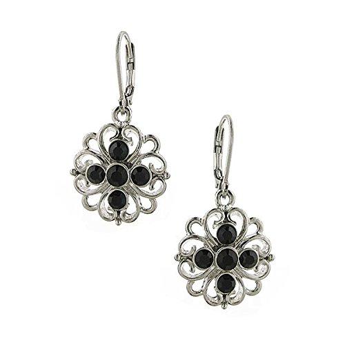 1928 Jewelry Women's Silver-Tone Jet Flower Drop Earrings, Black, One Size -