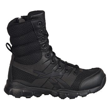 Reebok Mens Black Micro Mesh 8in Tactical Boots Dauntless So