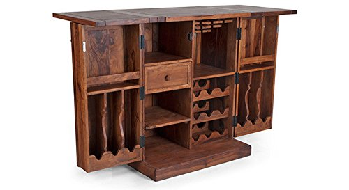 Urban Ladder Caledonia Solid Wood Bar Cabinet (Teak Finish)