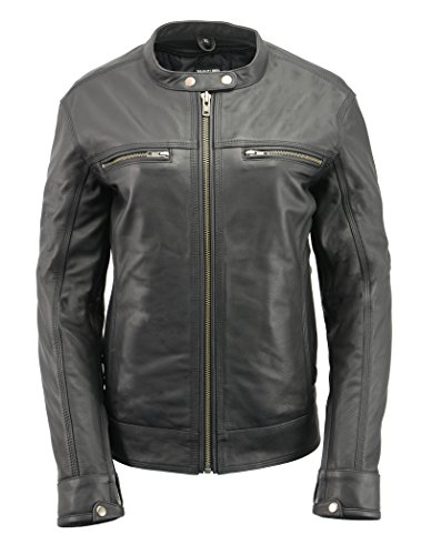 Women's Lightweight Leather Scooter Jacket | Quality Naked Goatskin | Concealed Gun Pockets, Hourglass Silhouette | Black Ladies Vented Motorcycle Jacket (Black, ()