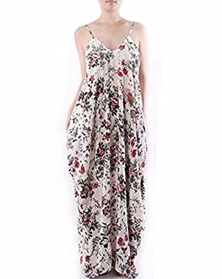 ZANZEA Women's Boho Floral Print V Neck Spaghetti Strap Long Maxi Dress Sundress