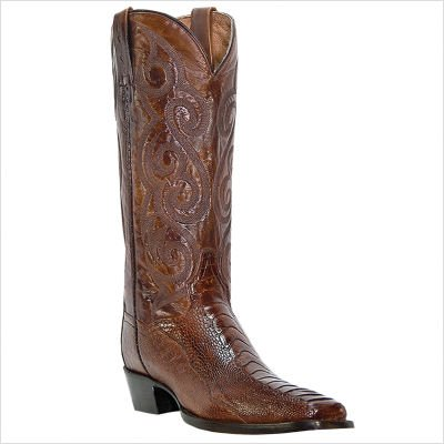 Dan Post Men's 13'' Antique Tan Ostrich Leg Leather Cowboy Boots 12 D
