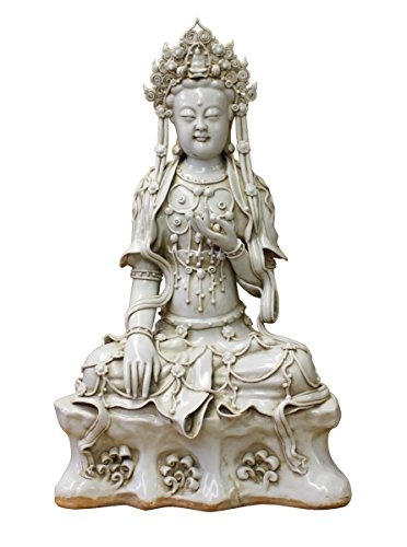 Vintage Chinese Tong Style Off White Porcelain Kwan Yin Tara Bodhisattva Statue Acs2958