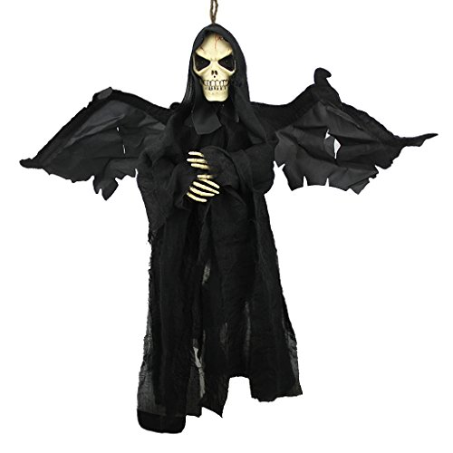 23.6'' Animated Fly Ghoul Ghost With Sound and Glowing Red Eyes Hanging Grim Reaper Skull Skeleton Halloween Decorations Haunted House Prop Decor Yard Outdoor Indoor Bar KTV Ornament Decor Toys Gift by Holiberty
