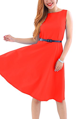 [YMING Women's Vintage Sleeveless Classy Party Cocktail Swing Tea Dress,Red,XL] (Elf Outfit For Women)