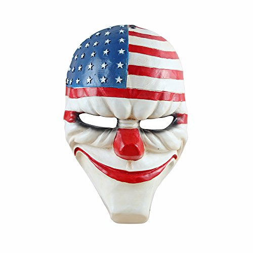 Digo3D Halloween Mask, Payday 2 Theme Game Mask Horror Cosplay Party, Fencing, War-Game, Costume Play More (Payday2 Dallars)