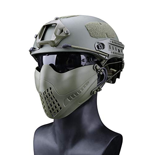 (Freahap Airsoft Half Face Mask Antifog Mask for Cycling Airsoft Paintball Party Green)