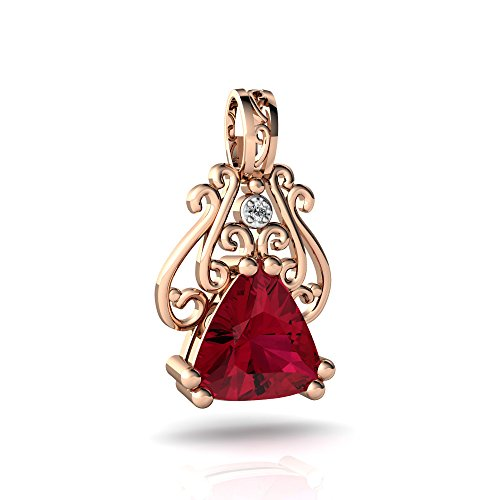 14kt Rose Gold Lab Ruby and Diamond 8mm Trillion Antique Style Pendant
