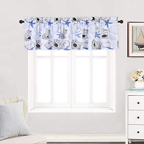 Seashells Window Windows - Haperlare Ocean Theme Valance for Bathroom, Starfish Seashell Conch Pattern Valance Curtains for Windows, Rod Pocket Kitchen Valance Curtain Cafe Curtains, 60