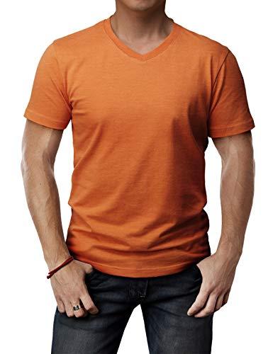 Sleeve Cotton Men T Shirt - H2H Mens Ultra Cotton Half Sleeve T-Shirt Orange US L/Asia XL (CMTTS0197)