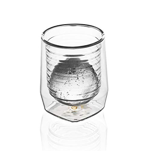 Aged & Ore - The Duo Glass | Hand Blown Double Walled Whiskey Glass Gift Set with Free Silicone Ice Molds | Integrated Measuring Lines for the Perfect Cocktail | Durable Modern Tumbler | Set of 2 by Aged & Ore (Image #6)