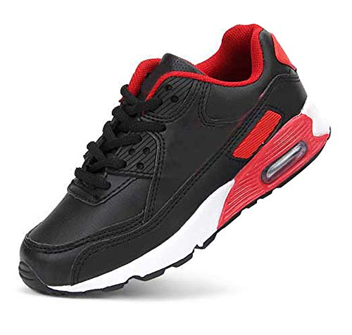 Daclay Kids Breathable Sports Shoes Boys and Girls Sneakers Casual Soft Soled Basketball Running Shoes (6 M US Big Kid, Black/Red) ()
